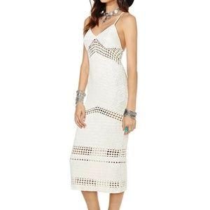 Nasty Gal Islander Crochet Midi Dress Ivory